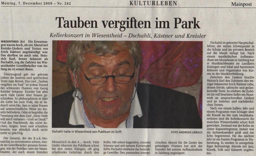 Zeitungsbericht aus der Mainpost vom 09.11.2009