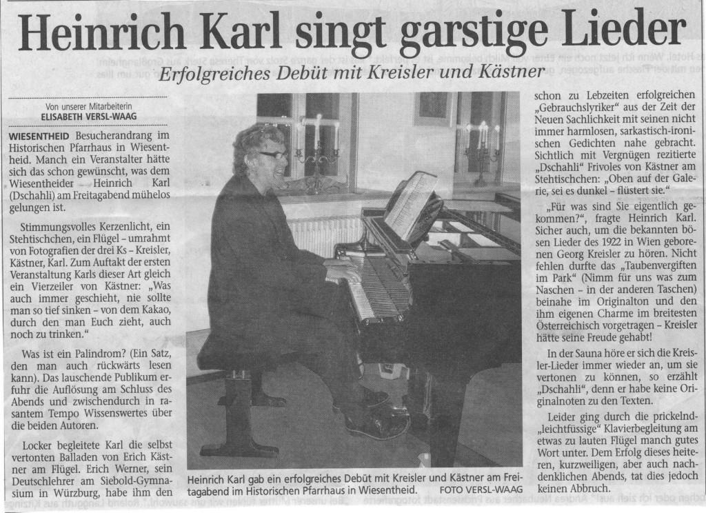 Zeitungsbericht aus der Mainpost vom 17.11.2008